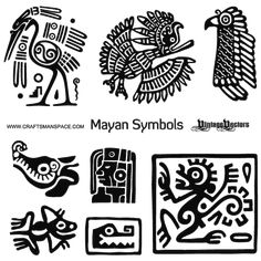 ancient birds of symbolism | Vector art of Mayan Animal Symbols and Mayan Male Head Profile