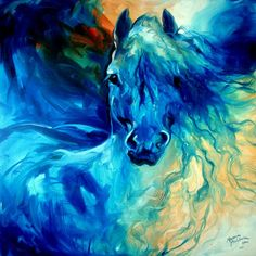 """""""EQUUS BLUE GHOST"""" by Marcia Baldwin: From my abstract equine originals, this oil painting is captured here for your fine art prints from Imagekind.  ENJOY.  And please know you may contact Marcia Baldwin for any special requests for n..."""