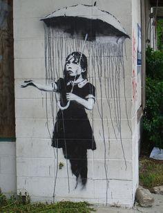 Banksy is an England-based graffiti artist. His satirical street art and subversive epigrams combine irreverent dark humor with graffiti done in a distinctive 3d Street Art, Street Art Utopia, Street Art Graffiti, Graffiti Drawing, Street Artists, Rain Street, Graffiti Girl, Urban Graffiti, Graffiti Painting