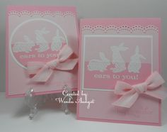 sweet handmade card ... two pinks with white ... bunny silhouettes ... Ears to you ... Stampin' Up!
