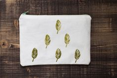 Feathers Pencil Case Lineen  Pouch  Pencil by MyHouseOfDreams2, $16.00