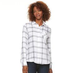 Women's Croft & Barrow® Plaid Shirt, Size: