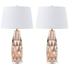 With textured bodies in a lustrous rose gold finish, this set of two ceramic table lamps packs a stylish punch.