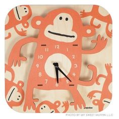 Art wall wooden clock monkey presented by My Sweet Muffin. Auction starts 5/23 at 5pm PDT. #tophatter #wall #decor