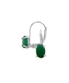 Shark Stores Emerald & Sterling Silver Leverback Huggie Earrings   zulily