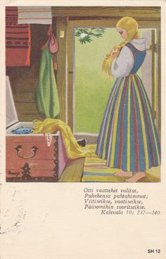 The Art of Martta Wendelin - Finnish illustrator not well known outside of Finland - 1893 - 1986 - her work is lovely Pretty Drawings, Colorful Paintings, Creature Design, Vintage Cards, Vintage Posters, Illustrations Posters, Martini, Mythology, Folk Art