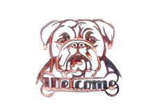 Bulldog Welcome Sign CAN BE CUSTOMIZED by VulcanixArt on Etsy