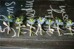 Absolutely love these buttonholes :) ... not sure the periwinkles are in season though?