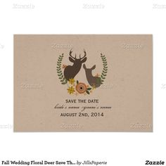 Fall Wedding Floral Deer Save The Date 3.5x5 Paper Invitation Card