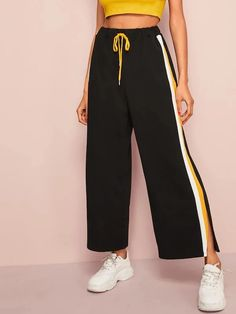 To find out about the Striped Slit Side Drawstring Waist Pants at SHEIN, part of our latest Pants ready to shop online today! Kids Outfits Girls, Girls Fashion Clothes, Teen Fashion Outfits, Fashion Pants, Stylish Outfits, Cool Outfits, Girl Fashion, Hijab Style, Vetement Fashion