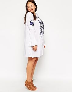 Enlarge Alice & You Blue and White Embroidered Dress