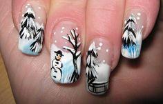 Diseños de uñas para invierno, diseño de uñas invierno paisaje.  Únete al CLUB, síguenos! #diseñodeuñas #unhas #uñasdiscretas