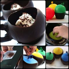 How to Make Hot Chocolate Cups, using balloons and cocoa powder! via wikiHow.com #recipes #food #dessert