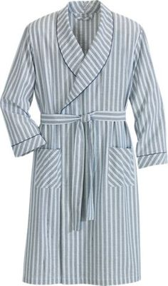Mens Bathrobe   Cotton Seersucker Robe