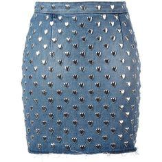 Saint Laurent heart stud mini skirt ($1,590) ❤ liked on Polyvore featuring skirts, mini skirts, saint laurent, blue, high waisted skirts, high-waisted skirts, short miniskirt, yves saint laurent skirt and blue skirt
