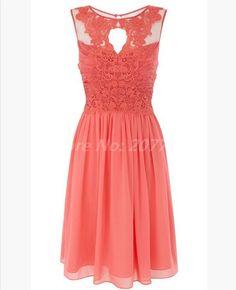 Scoop Coral Bridesmaids Dresses Pleat Halter Cheap Bridesmaid Dress Lace Short Party Dress 2014 New Bridesmaid Dress-in Bridesmaid Dresses f...