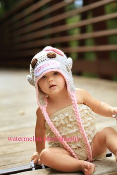 Sock Monkey Hat- Baby Hat- Pink Tan and White Crocheted Sock Monkey Hat on Etsy, $25.95