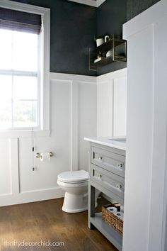 The first full room makeover in the new house! The first full room makeover in the new house! from Thrifty Decor Chick Wainscoting Bathroom, Upstairs Bathrooms, Downstairs Bathroom, Bathroom Renos, Bathroom Furniture, Bathroom Ideas, Antique Furniture, Bathroom Makeovers, Easy Bathroom Wallpaper