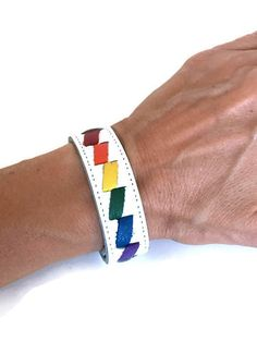 Gay pride rainbow cuff bracelet, gay pride leather bracelet, gay pride, lgbt pride, gay pride jewelry, gay pride braclet, gay pride bracelet by threedollarbillshop on Etsy