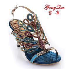 new 2014 female sandals summer genuine leather peacock sandals blue rhinestone sandals women's high-heeled shoes women sandals