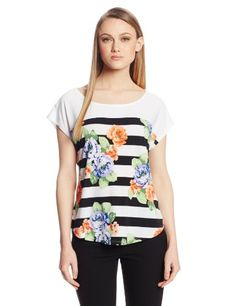 NY Collection Women's Front Floral Stripe Print and Solid Backtop $27.30 #NYCollection