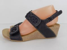 Clarks Bendables Blue Leather Wedge Slingback Sandals Woman's Size 8W #ClarksBendables #PlatformsWedges #Casual
