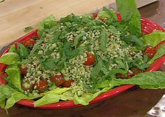 Tabbouleh (Lebanon) from FoodNetwork.com (Emeril)- substitute wheat with cooked quinoa