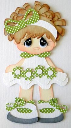 Girl Green White Dress Paper Piecing Set PreMade 4 Borders Scrapbooks Album