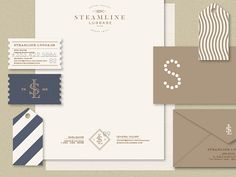 Progress on the business papers/stationary for Steamline Luggage. That big 'S' is going to be a peek-a-boo die-cut hole.