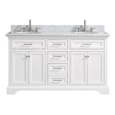 Home Decorators Collection Riverdale 72 in. D Vanity in White with a Carrara Marble Vanity Top in White with White Sink-Riverdale - The Home Depot Home Depot Bathroom Vanity, White Vanity Bathroom, Bathroom Furniture, Bathroom Ideas, Bathroom Cabinets, Marble Bathrooms, Modern Bathroom, Bathroom Showers, Bathtub Shower