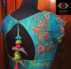 peacock design n tassels Traditional Blouse Designs, South Indian Blouse Designs, Best Blouse Designs, Simple Blouse Designs, Saree Blouse Neck Designs, Bridal Blouse Designs, Saree Tassels Designs, Designer Blouse Patterns, Work Blouse