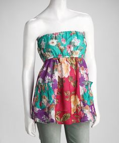 With a blossoming print and colorful palette, this tube top creates an energized look that's long lasting. Lightweight cotton ensures it both looks and feels cool and refreshing. Tube Top Outfits, Tube Dress, Diy Dress, Vintage Floral, Fabric Design, Boho Chic, Strapless Dress, Teal, My Style