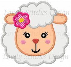 Girl Sheep Face Applique Machine Embroidery Design NO:0289