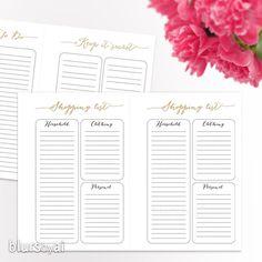 A5 Printable to do list, printable planner, printable shopping list, gold foil printables for A5 planner, back to school - ORG 007 B Melinda