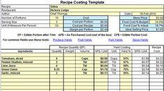 recipe cost template