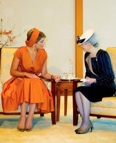 State visit Japan 2014 - Day Queen Maxima during an audience with Empress Michiko of Japan at the Imperial Palace in Tokyo, Japan, Oct. Royal Beauty, Dutch Royalty, Royal Babies, Queen Maxima, Royal Weddings, Prince And Princess, Red Carpet Looks, Lady And Gentlemen, Royal Fashion