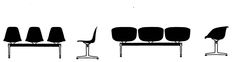 Silhouettes of Eames Tandem Shell Seating from a 1966 @hermanmiller Catalog #eames