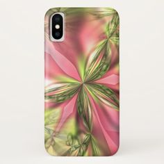Cute Pink Lime Green Butterfly Fractals Pattern iPhone X Case - elegant gifts gift ideas custom presents