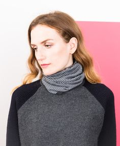 Merino Neckwarmer - Grey Stripe // Findra
