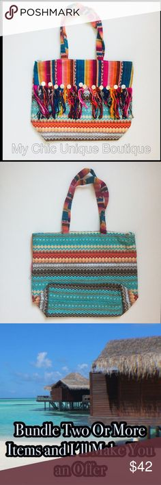 Fiesta Style Boho Tassel Cotton Tote Manufactured by America and Beyond, purchased wholesale directly through them. They are a very prestigious designer with a very boho feel with good quality and affordable pieces. . Lightweight 100% Cotton. 14x16x6x11                                                              ‼️Unless Stated otherwise REASONABLE OFFERS ONLY I may counteroffer once and will not take less. ❤️For guarantee discount ...bundle                              💵ILOVE…