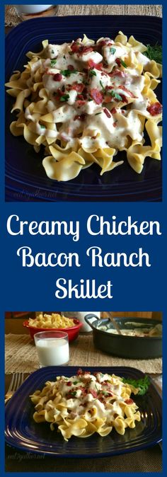 Cheesy Chicken Bacon Ranch Skillet is a one-pan meal that comes together in a matter of minutes.  Your family will love it and you will love getting your family around the table!  From @eat2gather
