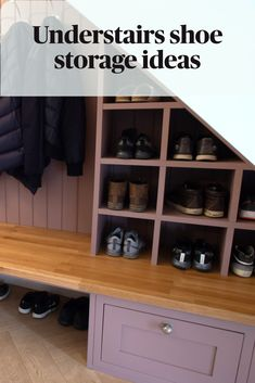 Shoe and coat storage for under the stairs by @brandtdesignltd Understairs Shoe Storage, Shoe Storage Under Stairs, Front Door Shoe Storage, Coat And Shoe Storage, Closet Under Stairs, Closet Shoe Storage, Under Stairs Cupboard, Bench With Shoe Storage, Stair Storage
