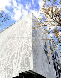 Exterior cladding facades perforated metal 38 ideas for 2019 Metal Facade, Metal Cladding, Metal Screen, Exterior Cladding, Building Exterior, Building Facade, Exterior Paint, Perforated Metal Panel, Metal Panels