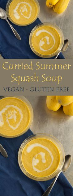 Curried Summer Squash Soup (vegan, gluten free) - This simple healthy soup is comfort food in a bowl. Infused with coconut milk for a rich flavor.
