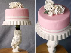 DIY: Cake Stand - Looks like this was made from an old lamp and a pie pan!  What a good idea for a special cake!