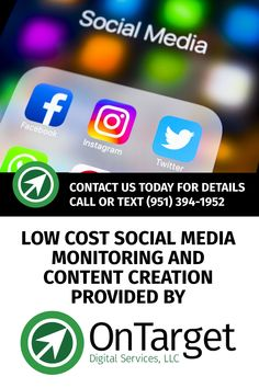 Let OnTarget create and post engaging content for your business on all the major social media sites -- Facebook, Twitter, Instagram and Pinterest. A great, low cost solution for businesses on a budget. Contact us to learn more! Social Media Site, Social Media Content, Contact Us, Digital Marketing Services, Facebook Instagram, Texts, Budgeting, Messages, Learning