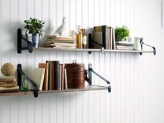 create more visual interest by using two bracket depths and offsetting the shelves shown here ekby hemnes shelf ekby utsj brackets