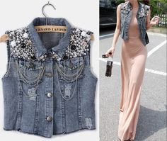 Pumk Style Vtg Blingbling Denim Vest Weekly new trends in clothes, shoes & accessories at ZARA onlin Gilet Jeans, Denim Jeans, Jeans Rock, Punk Fashion, Denim Fashion, Fashion Outfits, Curvy Fashion, Fall Fashion, Style Fashion
