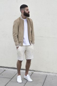 Shorts styled with White Plain Tshirt with a Bomber Jacket on it and a pair of White Sneakers