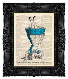 TEAL - Alice in Wonderland Art Print on Antique Book Page Dictionary Page Upcycled Recycled 173